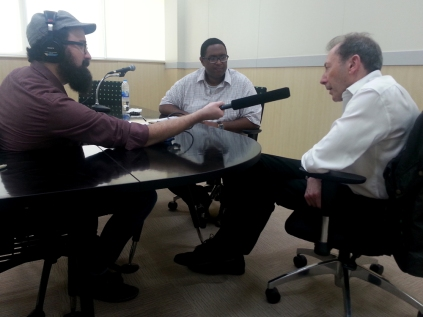 """Press: Radio interview with David Lloyd by Colin Cheney & Donald Quist for """"Poet in Bangkok""""."""