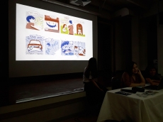 "A team of CommDe students presenting their Traumics (or ""Comics on Trauma"") to Ephameron and CommArts students."