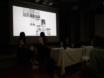 """A team of CommDe student presenting their Traumics (or """"Comics on Trauma"""") to Ephameron and CommArts students."""