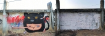 """Alex Face's """"artwork depicted the artist's famous graffiti character Mardi wearing a black-leopard costume and a mask with a Pinocchio nose"""" (Marisa Chimprabha, The Nation)."""