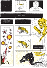"""First page of student Beam's """"Marsupilami and the Black Leopard"""" tribute comics. Based on the Marsupilami character created by André Franquin (©Marsu/Dupuis)."""