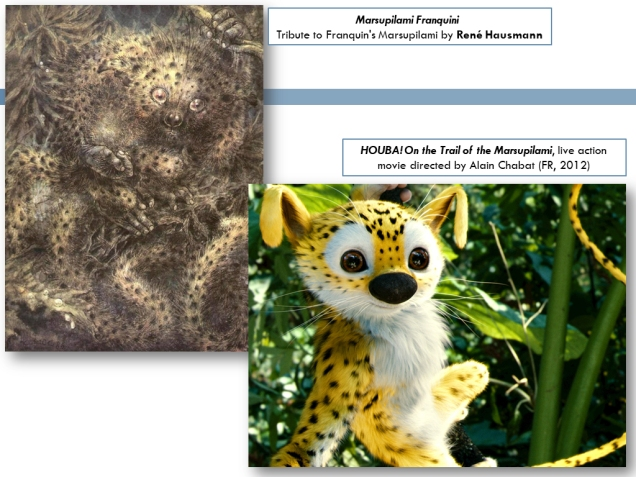 Marsupilami tribute by René Hausmann, and screenshot from the Marsupilami live action movie.
