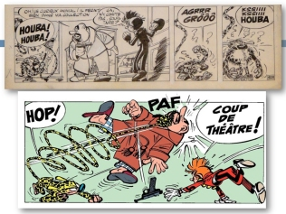 "Original artwork (detail) and panel from ""Spirou: Les Petits Formats"" by André Franquin (and Roba), Dupuis, 1960."