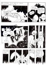 """First page of student Pear's """"Marsupilami and the Black Leopard"""" tribute comics. Based on the Marsupilami character created by André Franquin (©Marsu/Dupuis)."""
