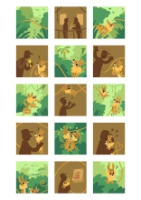 """First page of student Darnis' """"Marsupilami and the Black Leopard"""" tribute comics. Based on the Marsupilami character created by André Franquin (©Marsu/Dupuis)."""
