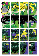 "First page of student Proud' ""Marsupilami and the Black Leopard"" tribute comics. Based on the Marsupilami character created by André Franquin (©Marsu/Dupuis)."