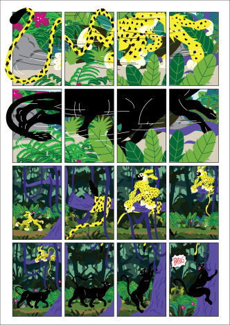 """First page of student Proud' """"Marsupilami and the Black Leopard"""" tribute comics. Based on the Marsupilami character created by André Franquin (©Marsu/Dupuis)."""
