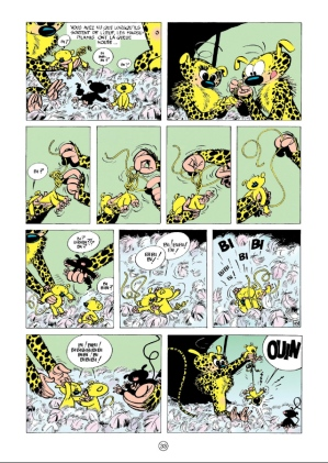 "Page from ""Le nid des Marsupilamis"" (The Marsupilamis Nest, 1956, ©Dupuis) where young Marsu parents learn to untie the knots in their offspring's tails."