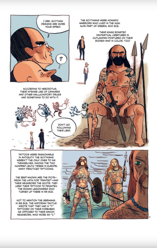 "Page from ""The Little Book of Knowledge: Tattoos"" by Jérôme Pierrat (author) and Alfred (artist). IDW Publishing/Le Lombard."