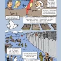 """Page from """"La Petite Bédéthèque des Savoirs #18: Le conflit israélo-palestinien"""" by Vladimir Grigorieff (author) and Abdel de Bruxelles (artist), Le Lombard."""