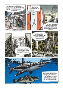 "Page from (upcoming in English) ""The Little Book of Knowledge: Sharks"" by Bernard Séret (author) and Julien Solé (artist). IDW Publishing/Le Lombard."