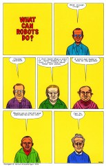 "Daniel Clowes' comics page published on June 1990 in the third issue of his comics series Eightball. The page is a visual adaptation of ""the work of David Greenberger, who asked questions of nursing home residents and transcribed their answers in his zine The Duplex Planet."""