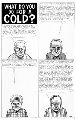 "Daniel Clowes' comics page published on October 1990 in the fourth issue of his comics series Eightball. The page is a visual adaptation of ""the work of David Greenberger, who asked questions of nursing home residents and transcribed their answers in his zine The Duplex Planet."""