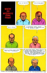 "Daniel Clowes' comics page published on June 1991 in the sixth issue of his comics series Eightball. The page is a visual adaptation of ""the work of David Greenberger, who asked questions of nursing home residents and transcribed their answers in his zine The Duplex Planet."""